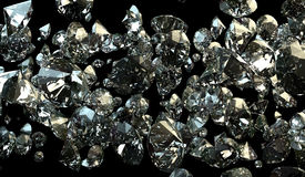 Black and white background of glittery diamonds. Render beautiful diamonds with a shiny surface Stock Photography