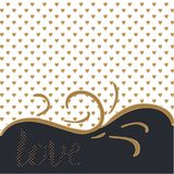 Love. Elegant background with golden love hearts and lettering. Black-white background, golden love hearts pattern, hand written lettering calligraphically Stock Photography