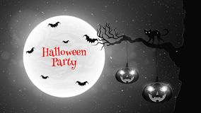 Black and white background for Halloween party. Black cat walks through the tree. Bats fly against the background of the full moon Royalty Free Stock Photo