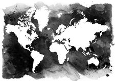 Black and white background. Horizontal vintage map of the world. Royalty Free Stock Photos