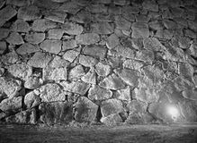 Black and white background of Japanese castle wall and lighting Royalty Free Stock Photo