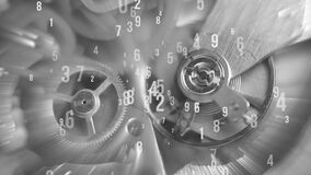 Black and white background with metal cogwheels clockwork mechanism and numbers, countdown, abstract sun beams