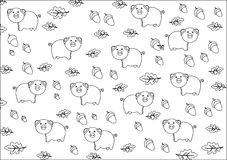 Black and white background with pigs Royalty Free Stock Photography
