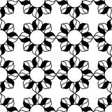 Black and white pattern. Black and white background. Regular pattern with stylized floral elements. Vector seamless repeat Royalty Free Stock Image
