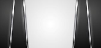 Black and white background with silver stripes Royalty Free Stock Photos