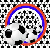Black and white background with soccer balls and flag of Russia Royalty Free Stock Images
