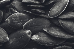 A black and white food background texture image of pumpkin seeds. Stock Photo