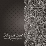 Black and white background. Vector wedding invitation with lace paisley pattern in vintage style. Black and white background Vector Illustration
