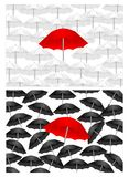 Black and white backgrounds with red umbrella, cdr. Red umbrella on white and black umbrellas backgrounds, cdr vector stock illustration