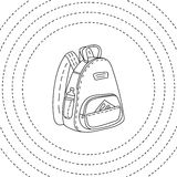 Black and white backpack hand drawn, vector illustration Royalty Free Stock Photos