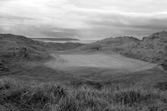 Black and white Ballybunion links golf course. View of the Ballybunion links golf course in county Kerry Ireland in black and white Royalty Free Stock Images