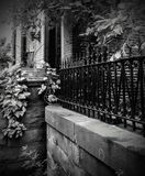 Black and white Baltimore Maryland Bolton Hill neighborhood on Park Avenue stock image