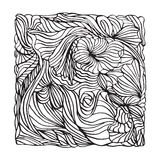 Black and white Bandana print design with line art waves for fashion textile. Royalty Free Stock Photos