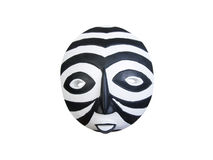 Black and white banded African Mask. African Mask from Ghana with black and white bands Stock Photos