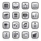 Black and white bank, business and finance icons Stock Image