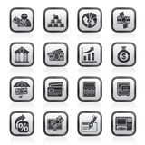Black an white bank, business and finance icons Stock Photo
