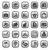 Black an white bank, business and finance icons. Vector icon set Stock Images