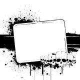 Black-and-white banner. With blots and skulls Stock Photography