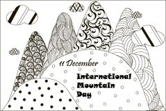 Black and white banner 11 December International Mountain day, hand drawn zentangle, stock. Vector illustration Royalty Free Stock Image
