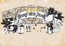 Black-and-white banner happy new year 2016.vector illustration. Black-and-white banner happy new year 2016 Stock Photo