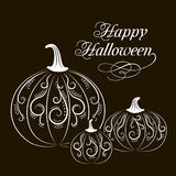 Black-and-white banner with pumpkins. Postcard black and white pumpkins with abstract patterns on halloween, harvest festival or party, stickers vector Royalty Free Stock Photo