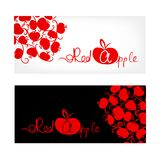 Black and white banner with red apple design Stock Photography