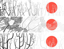 Black and white banners of abstract drawing tree with sun. Royalty Free Stock Photo