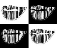 Black and white barcode lips. Stock Photography