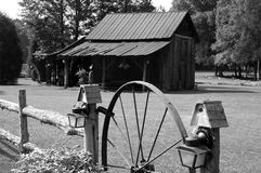 Black and white Barn. An old barn in the South Carolina in black and white royalty free stock images