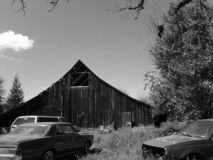 Black and White Barn stock photo
