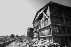 Black and White Barns royalty free stock photography