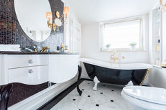 Black and white baroque bathroom royalty free stock photography