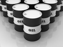 Black and white barrels with mark. OIL stacked in form of rhomb Royalty Free Stock Images