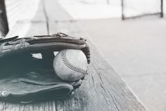 Black and white baseball in glove from dugout. Baseball in glove laying on dugout bench in black and white royalty free stock photos