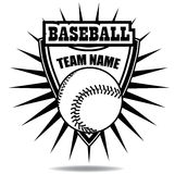 Black and white baseball icon badge shield Royalty Free Stock Images