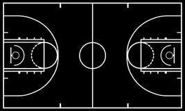 Black and white basketball court. Illustration Royalty Free Stock Photos