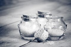 Black & White Bath Salts Royalty Free Stock Images