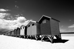 Black and White Bathing Boxes Stock Photography