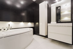Black and white bathroom Royalty Free Stock Image