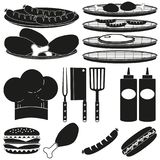 Black white bbq cooking 15 element silhouette set. Food themed vector illustration for gift card certificate sticker, badge, sign, stamp, logo, label, icon stock illustration