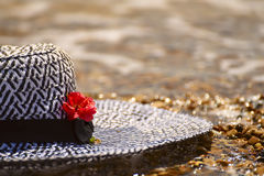 Black-and-white beach with live red flowers on the beach in water Royalty Free Stock Photography