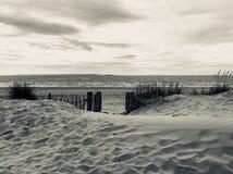 Black and White Beach Scene. Taken from Sand Dunes in Llandudno royalty free stock photo