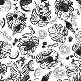 Black and white beach summer vacation seamless pattern. Vector background. Great for textile, fashion, home decor, paper royalty free illustration