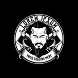 Black and white bearded man with mohawk hair style character vector and cross axe emblem logo template vector illustration