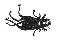 Crazy Funny Fictional Character. Black and white beast creature. Vector illustration Royalty Free Stock Photos