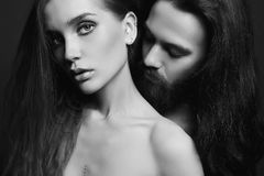 Black and white beautiful couple Royalty Free Stock Photography