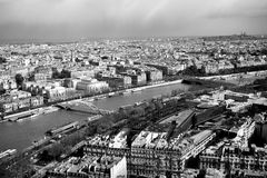 Black and white beautiful view of Paris. From The Eiffel Tower, France Stock Image