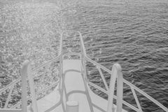 Black white beautiful yacht bow on water background Royalty Free Stock Photography