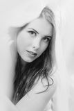 Black and white of beautiful young lady sensually Stock Image