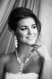 Black and white beauty portrait of young bride. Perfect makeup a Stock Photography